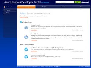 Внешний вид web интерфейса Azure.